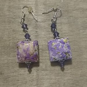 Purple and Yellow/White Marbled Earrings